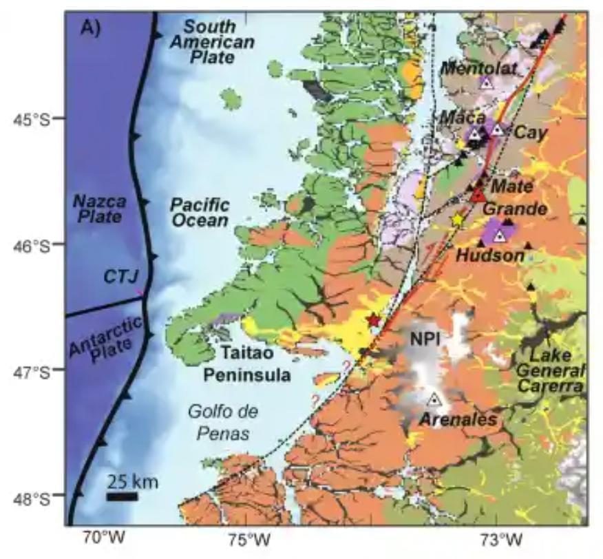 Mapa Falla Liquiñe-Ofqui